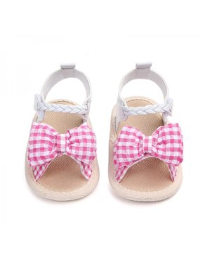 de1e217e172bc Product Image Lavaport Cute Baby Girl Bowknot Plaid Sandals Soft Sole  Anti-slip Shoes 0-18M