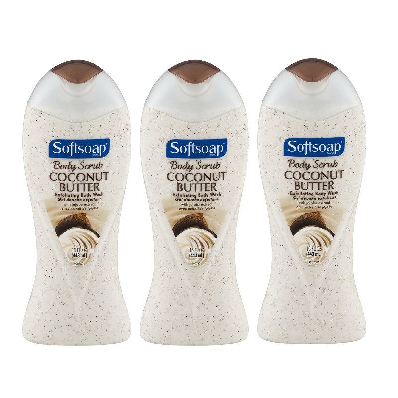 (3 Pack) Softsoap Coconut Butter Body Scrub, 15 fl oz