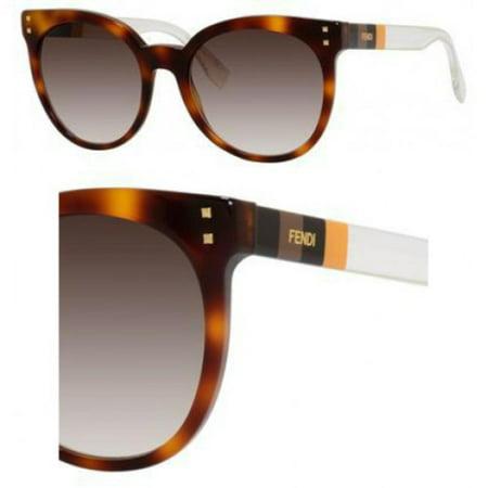 Fendi FF0083S 0E6Z Havana/Penquin Yellow Crystal Round sunglasses