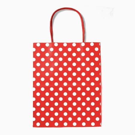 12CT Polka dots Kraft bag with sturdy handle - Medium, Red