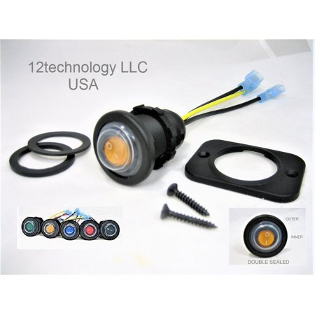 New Double Sealed Yellow LED Waterproof Rocker 12V Toggle Switch SPST Round IP66 Snowmobile #swyib