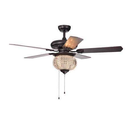 Pri 3 Light Crystal Bead 5 Blade 52 Inch Brown Ceiling Fan