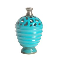 """9.5"""" Cerulean Blue and Gray Decorative Outdoor Patio Cutout Vase"""