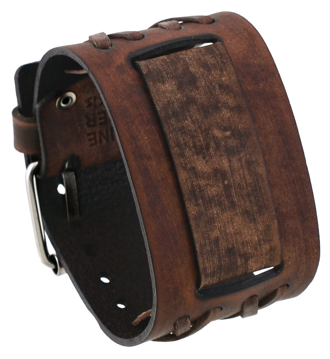 Nemesis DXB-B Criss Cross Pattern Wide Moro Brown Leather Cuff Wrist Watch Band by