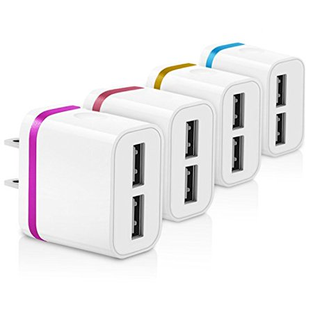 USB Wall Charger, Dual Port 2.1A USB Power Adapter [4-Pack] Portable Travel Charger Plug for Apple iPhone 8 / X / 7 / 6S Plus +, iPad, Samsung Galaxy, Nexus, HTC, Other Smartphones