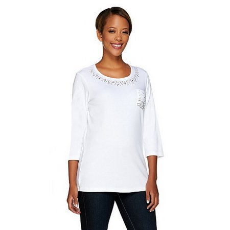 Womens Quacker Factory (QUACKER FACTORY QVC Womens Be Jeweled 3/4 Sleeve T-shirt)