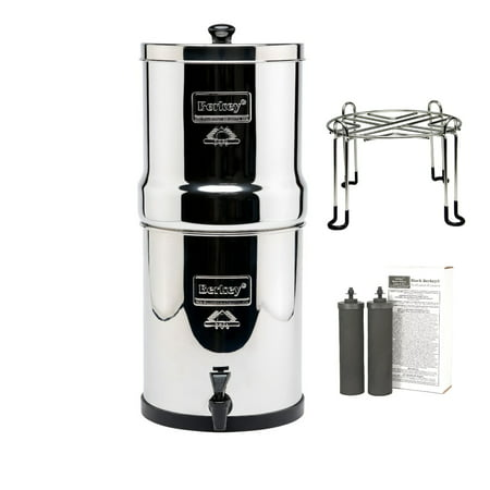 Travel Berkey Water Filter with 2 Black Filters and Wirestand