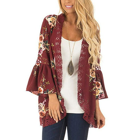 Womens Floral Loose Bell Sleeve Kimono Cardigan Lace Patchwork Cover Up Blouse Top Kimono Sleeve Knit Shirt