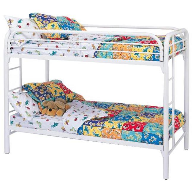Coaster 2256W Fordham Twin Over Twin Bunk Bed with Built-In Ladders