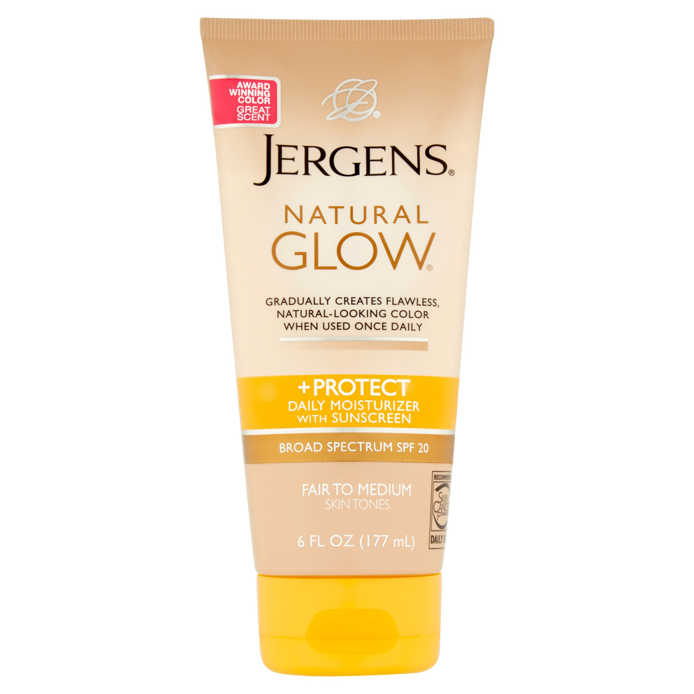 Jergens Natural Glow + Protect Daily Moisturizer with Sunscreen Broad Spectrum, SPF 20, 6 fl oz