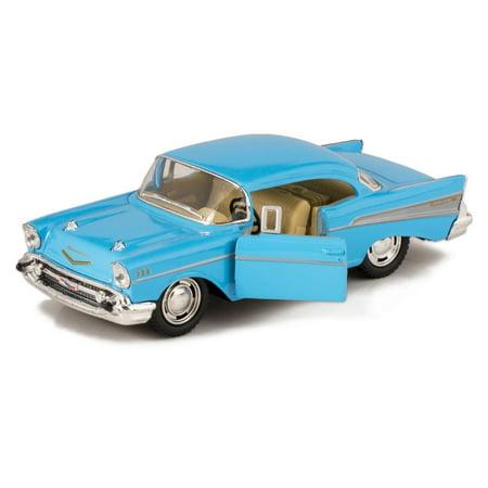 Kinsmart 140 Display 1957 Chevrolet Bel Air Blue Color Kt5313d No