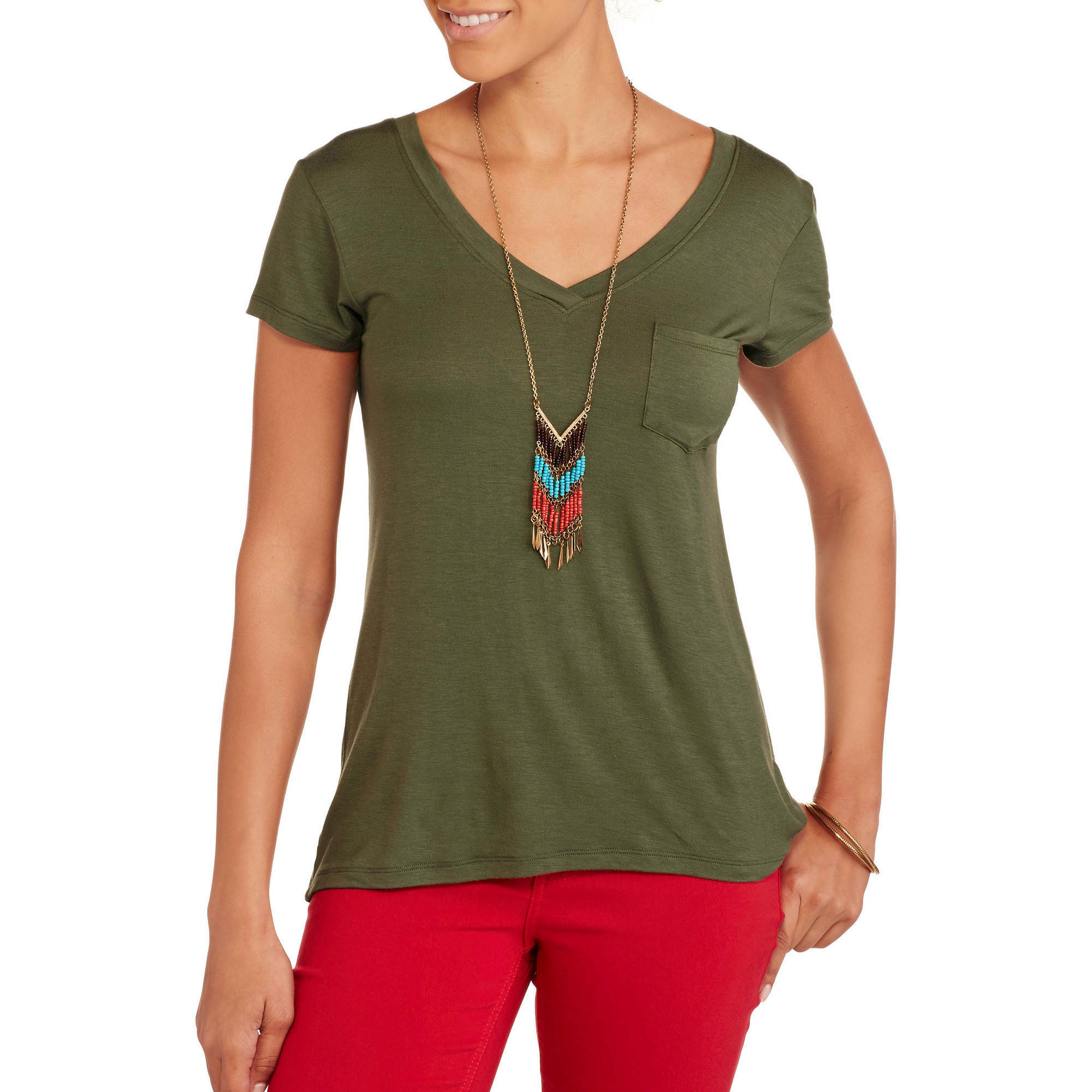 Juniors' Relaxed V-Neck Pocket Tee w/Lace Back
