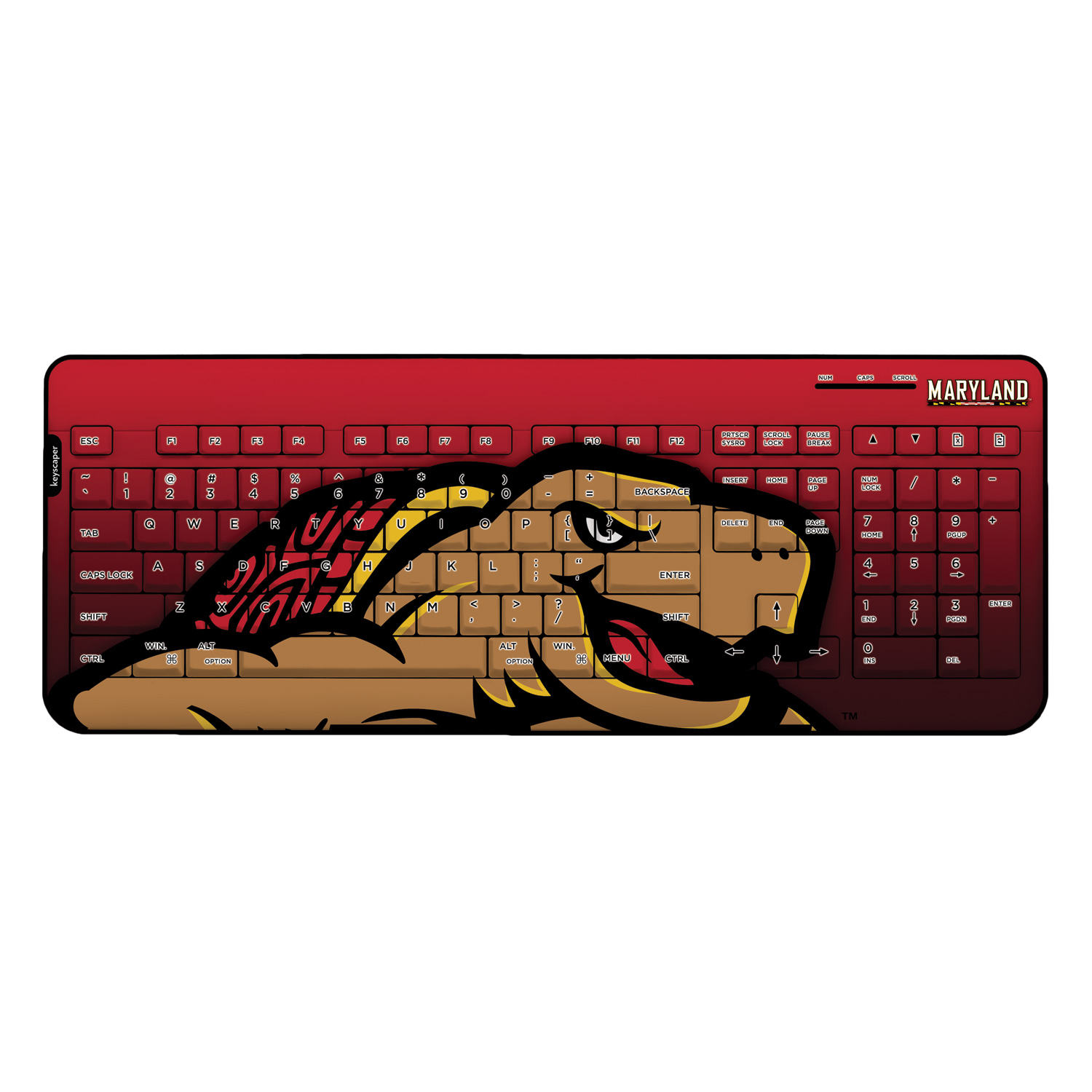 Maryland Terrapins Wireless USB Keyboard NCAA