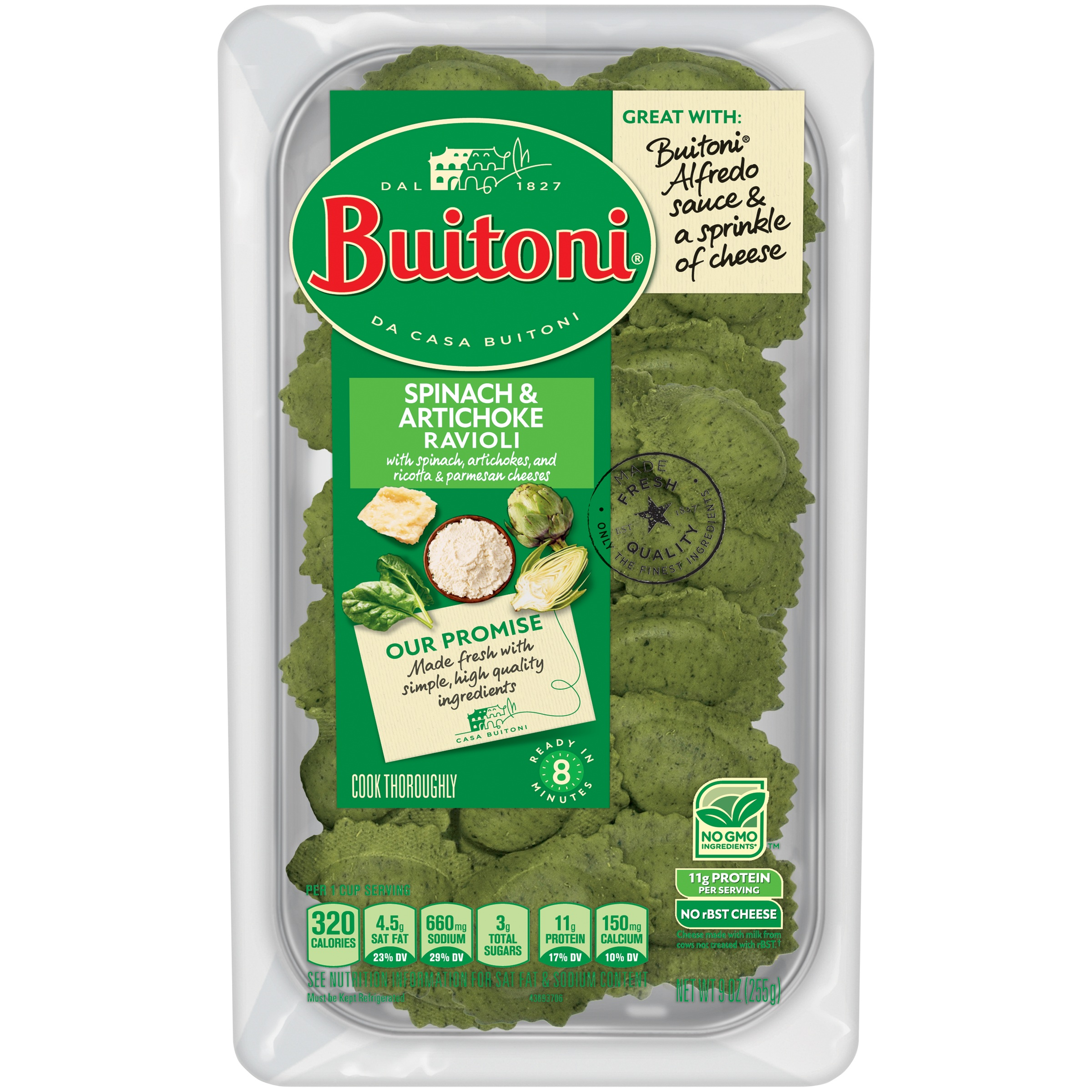BUITONI Spinach & Artichoke Ravioli Refrigerated Pasta 9 oz. Pack