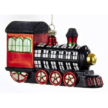 Kurt Adler Black White Red Plaid Patterend Train  Holiday - Train Ornaments