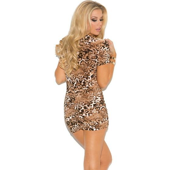 259800ddfbfe Elegant Moments - Leopard Print Low Cut Mini Dress - Walmart.com