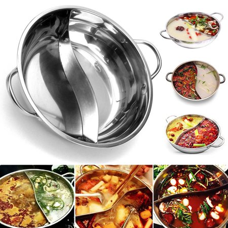 - Moaere 15'' Stainless Steel Shabu Hot Pot with Divider for Induction Cooktop Gas Stove