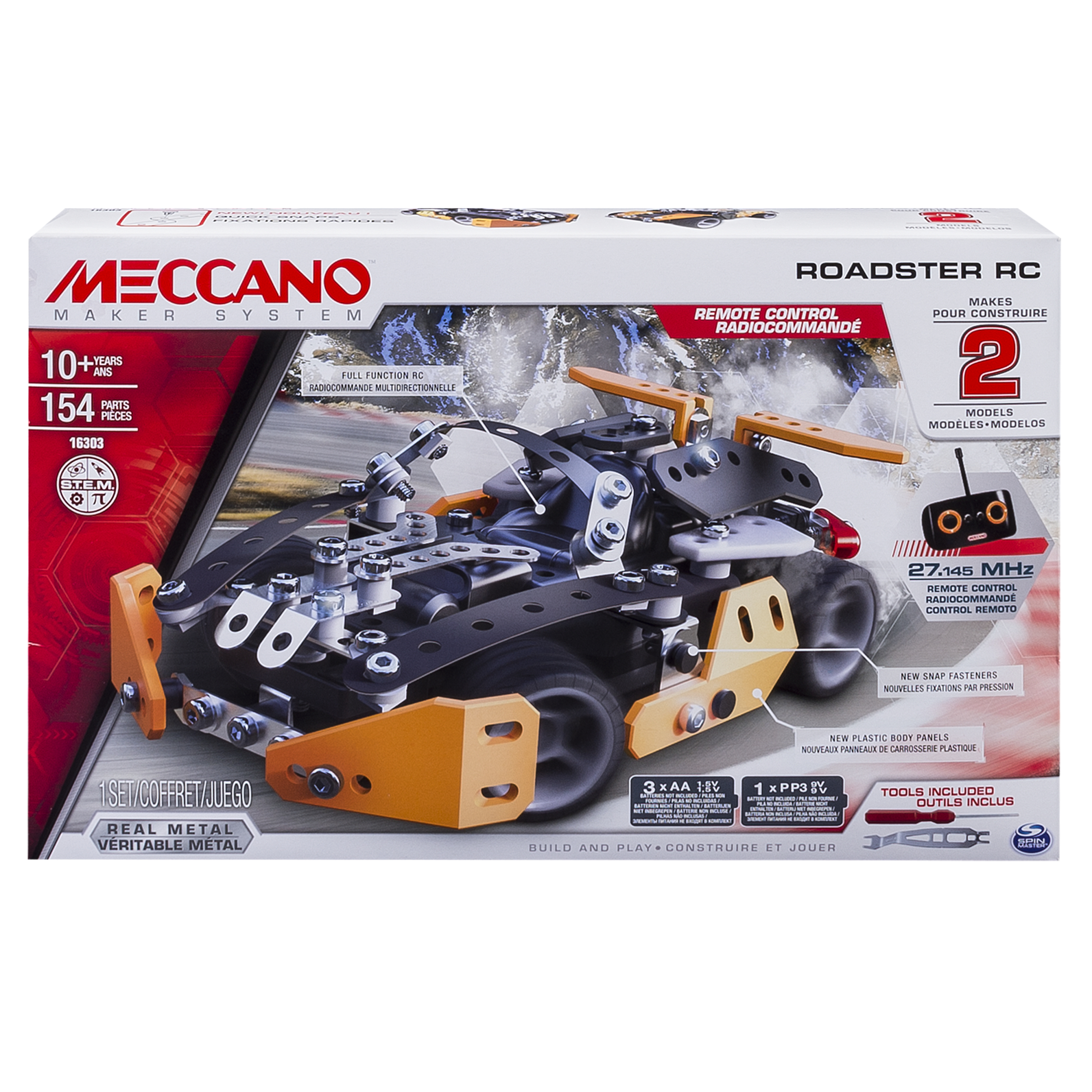 Erector by Meccano Roadster RC Model Building Set, 154 Pieces, For Ages 10 and up, STEM Construction Education Toy