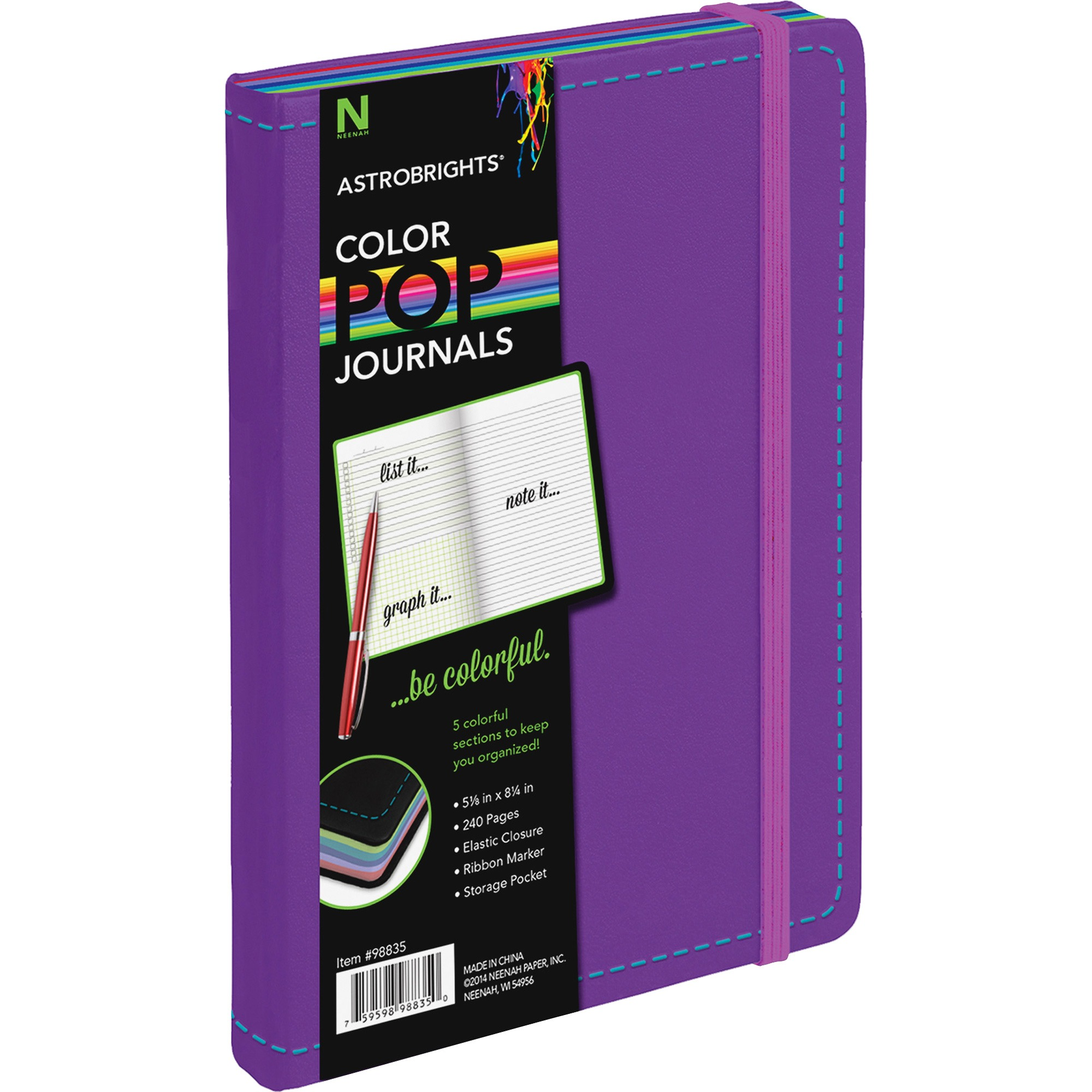 Astrobrights, NEE98831, Leatherette Journal, 240 / Each