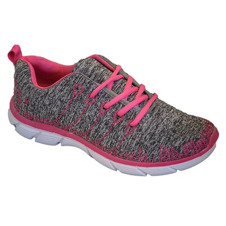Womens Sneakers Athletic Knit Mesh Running Light Weight Walking Casual Comfort Running Shoes Breathable (8, Pink/Grey with Memory Foam Insole) (Rockport Lightweight Sneakers)