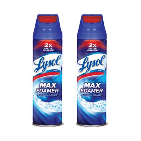 (2 Pack) Lysol Max Foamer Bathroom Cleaner, 19oz, 2X Faster