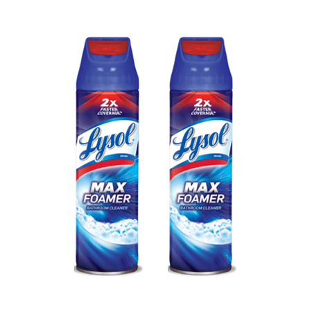 (2 Pack) Lysol Max Foamer Bathroom Cleaner, 19oz, 2X Faster (Chem Cleaners)