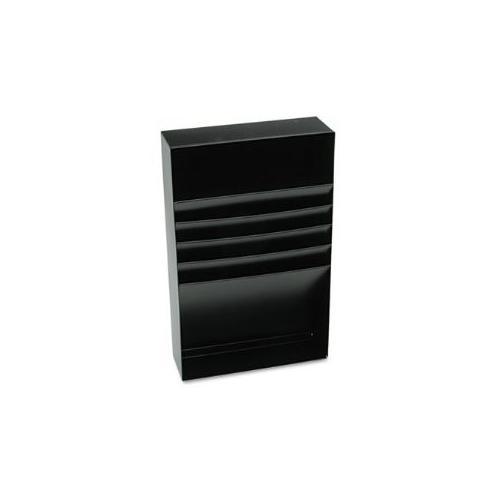 """Four-Compartment Desk Drawer Stationery Holder, Steel, 18"""" Dept, Black"""