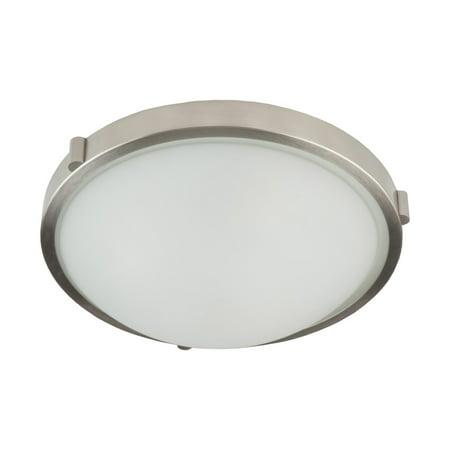 "Flush Mounts 3 Light Bulb Fixture With Brushed Nickel Finish White Opal Glass & Metal Medium 17"" 300 Watts"
