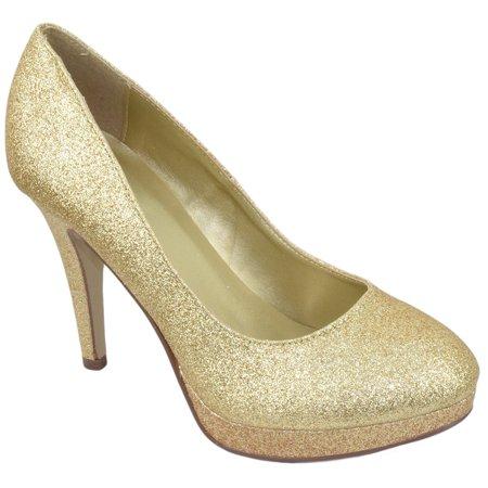 eb7cb9c73511 Delicious - Delicious Comfort Women Classic Stiletto Slim High Heels Pumps  Platform Round Toe EIFFEL Champagne Gold Glitter 5.5 - Walmart.com