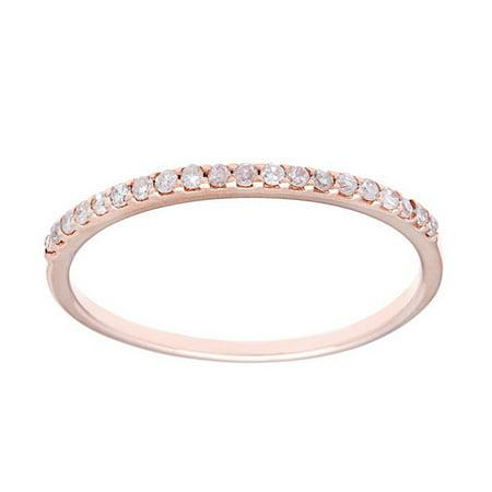 10k Rose Gold Thin Diamond Wedding Band (1/7 cttw, I-J Color, I2-I3 Clarity) - Rose Gold Wedding Colors