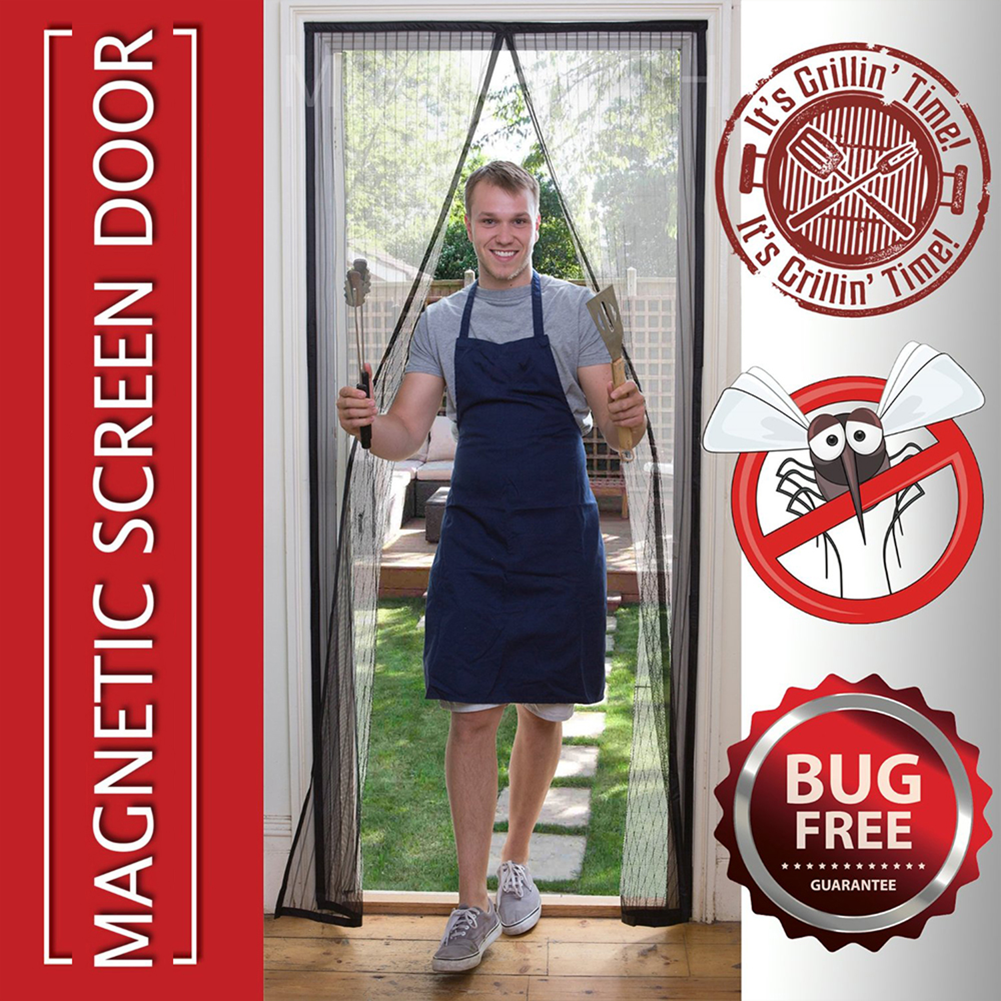 Delicieux Magnetic Mosquito Screen Door Heavy Duty Mesh U0026 Hands Free Magnetic Magic  Closer   Walmart.com