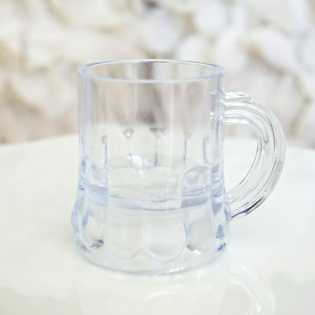 "Mini Clear Plastic Beer Mug Shot Glasses, 1.75"" Tall (12 Count)"