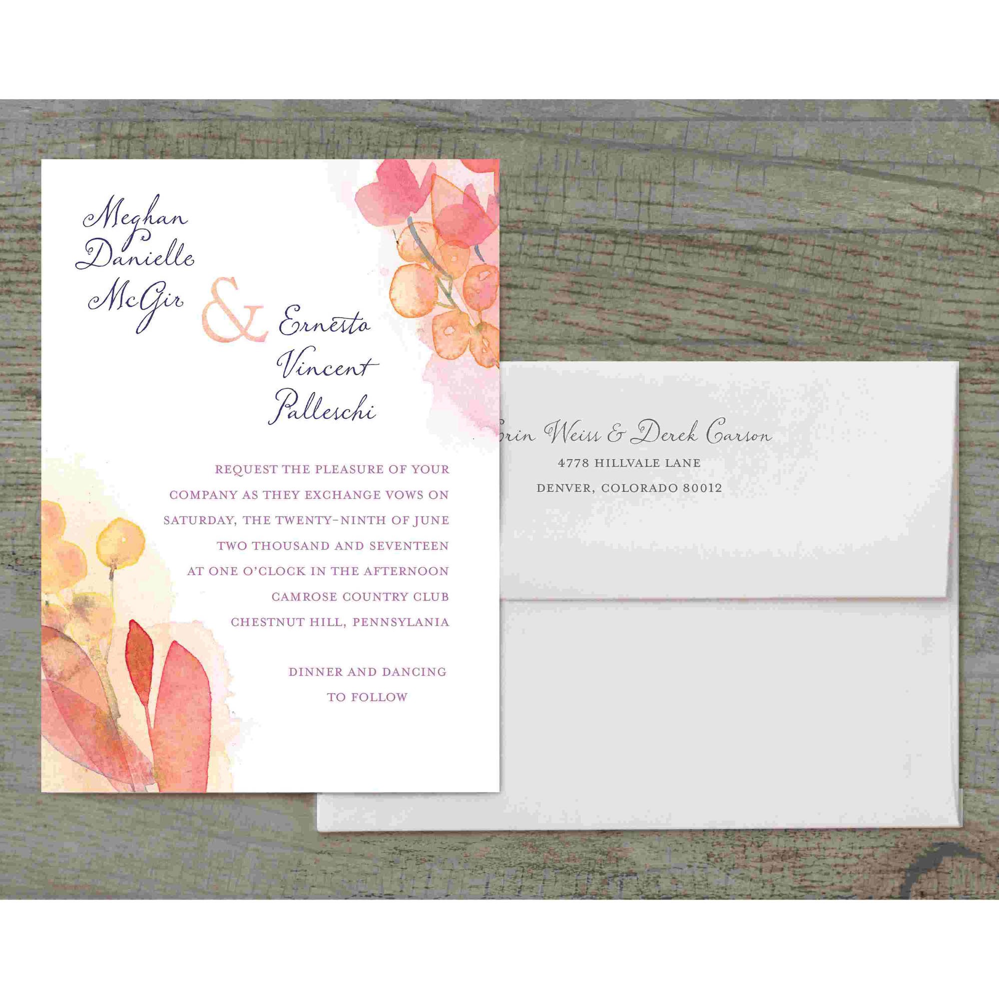 Floral Wash Deluxe Wedding Invitation