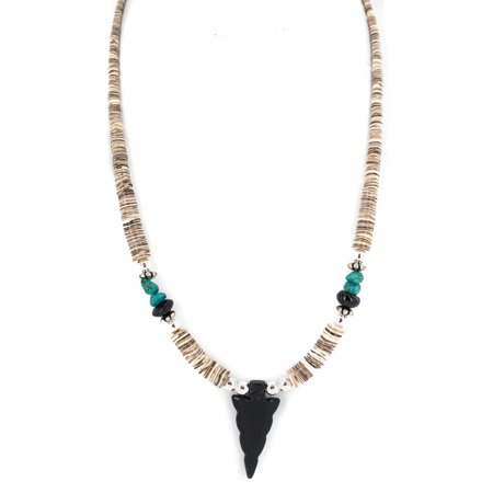 Graduated Onyx (.925 Sterling Silver Arrow Certified Authentic Navajo Natural Turquoise Black Onyx Graduated Melon Shell Native American Necklace)