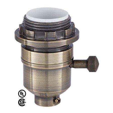 Brass Plated Finish Med Base Modern On Off Lamp Socket With Uno Ring Brass Plated Finish Med Base Modern On Off Lamp Socket With Uno Ring By B P