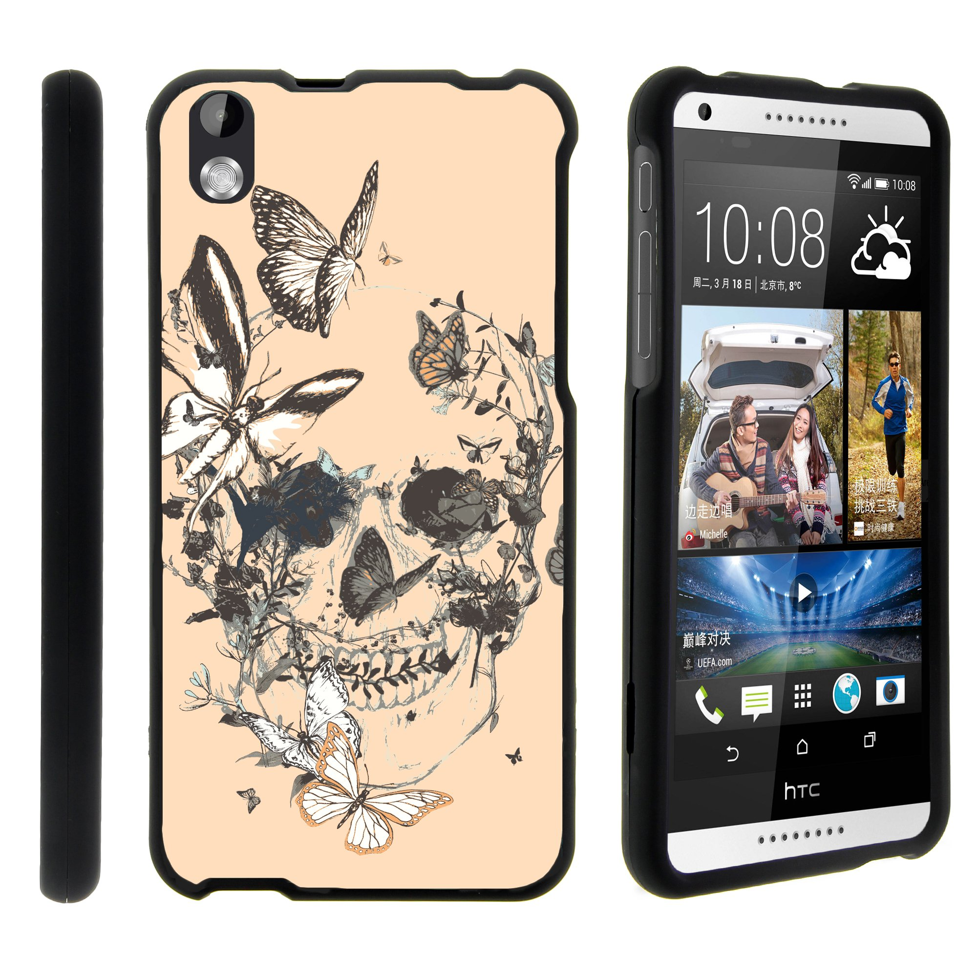 HTC Desire 816, [SNAP SHELL][Matte Black] 2 Piece Snap On Rubberized Hard Plastic Cell Phone Case with Exclusive Art - Butterfly Skull