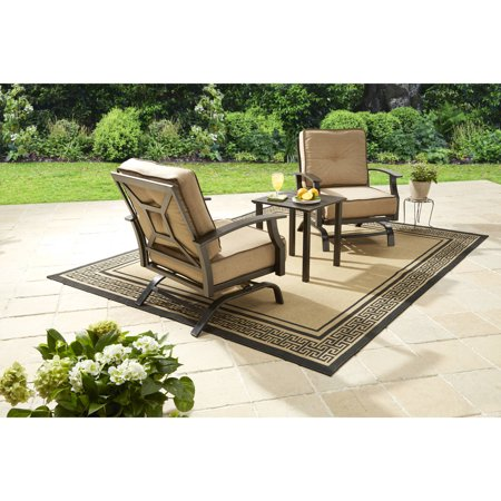 Better Homes & Gardens Carter Hills 3 Piece Outdoor Chat Set with Beige Cushions ()
