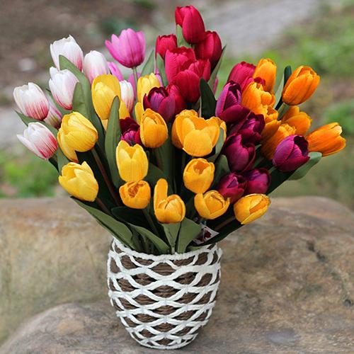 Girl12Queen 1 Bouquet 9 Heads Fake Tulip Artificial Silk Flower Home Office Wedding Decor