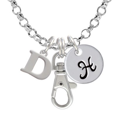 Delight Jewelry - Large Initial - D - H - Initial Badge Clip Necklace - Walmart.com
