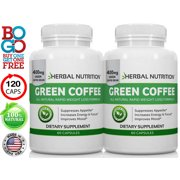 BOGO Sale - Pure Green Coffee Bean Extract - Two 60 Count Bottles, 120 Capsules, 800mg At 50% CGA