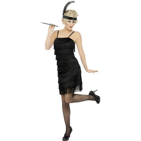 Fringe Flapper Costume Dress Adult: Black for $<!---->