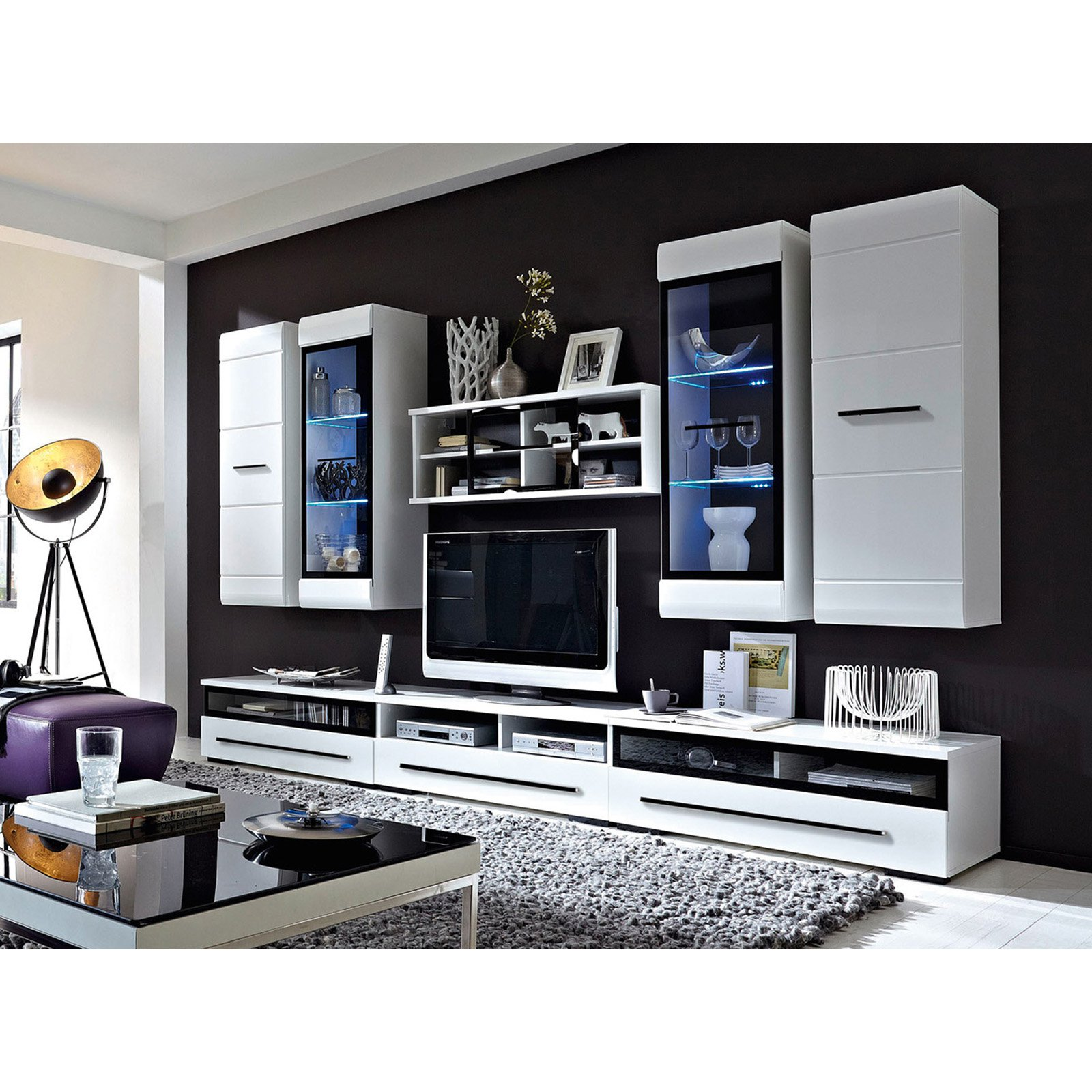 Black Red White Fever TV Entertainment Center Wall Unit