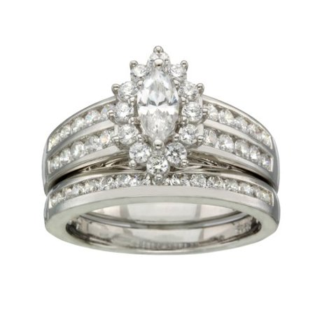 believe by brilliance sterling silver cz marquise bridal set