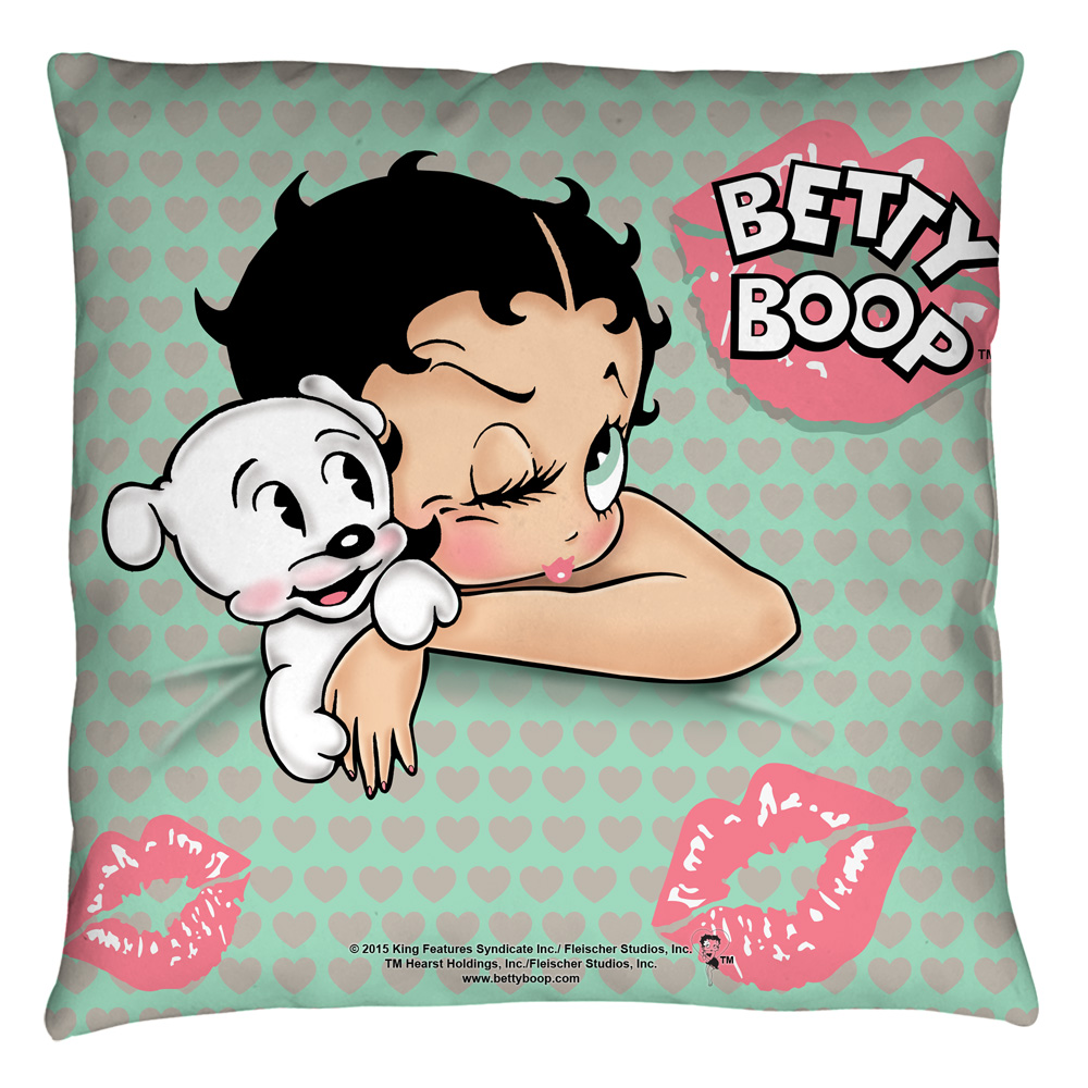 Betty Boop Goodnight Kiss Throw Pillow White 20X20