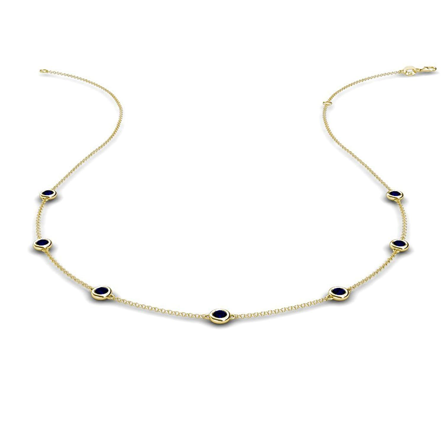 Blue Sapphire by the Yard 7 Stations Necklace 0.50 ct tw in 14K Yellow Gold by TriJewels