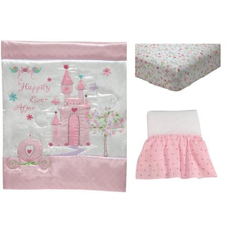 Retro Circles Crib Bedding - Disney Princess Happily Ever After 3 Piece Crib Bedding Set, Pink