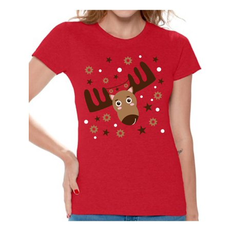 Awkward Styles Ugly Christmas Deer Tshirt for Women Funny Christmas Shirts Reindeer Ugly Christmas T Shirt Holiday Outfit Christmas Party Tshirt Xmas Reindeer Tshirt Women's Xmas Tshirt Holiday Shirt