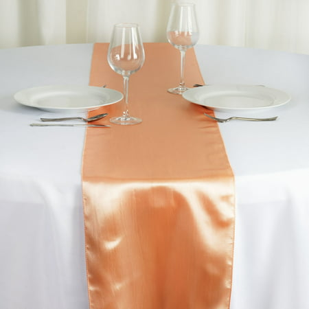 "BalsaCircle 12"" x 108"" Satin Table Top Runner - Wedding Party Reception Linens Dinner Event Decorations"
