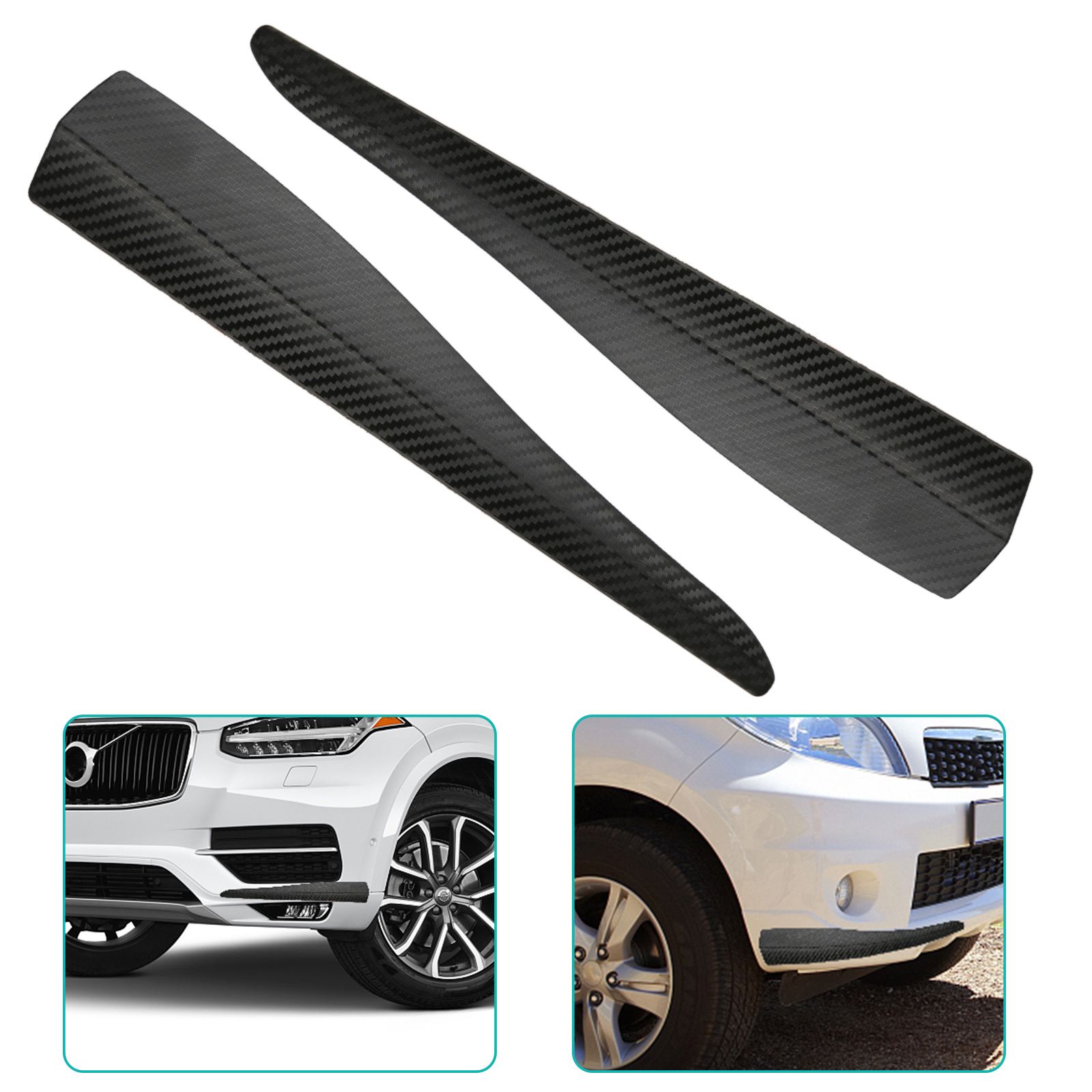 2pcs Universal Car Front Rear Carbon Fiber Pattern Bumper Corner Extended Protector Lip Guards