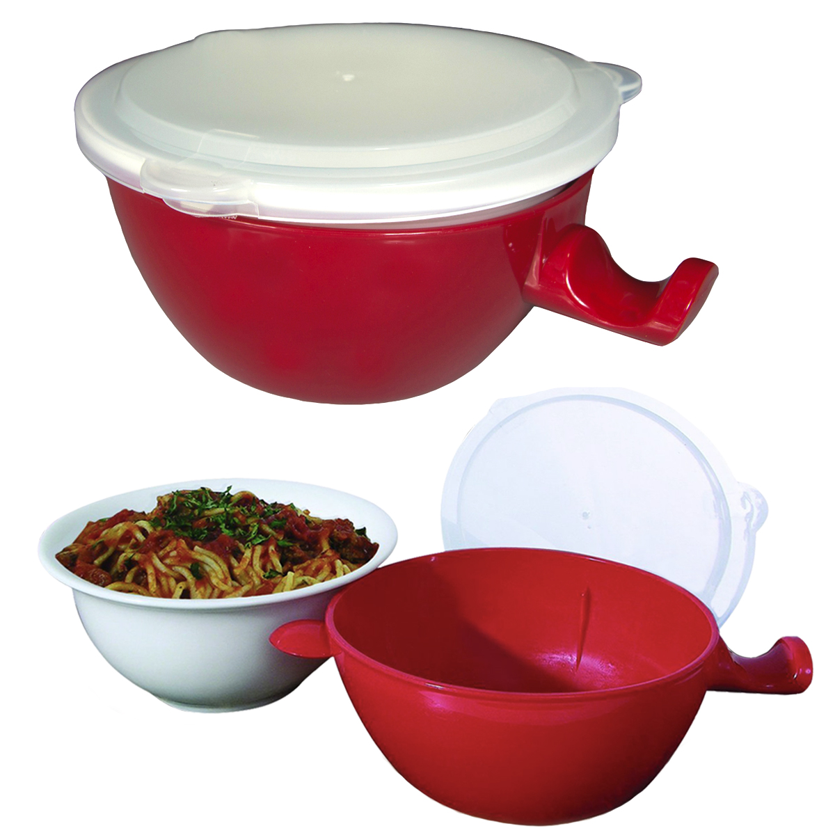 2 Yum! Heat & Eat 24oz Microwave Bowl 3pc Set Stay Cool Handle For Ramen Soup Containers